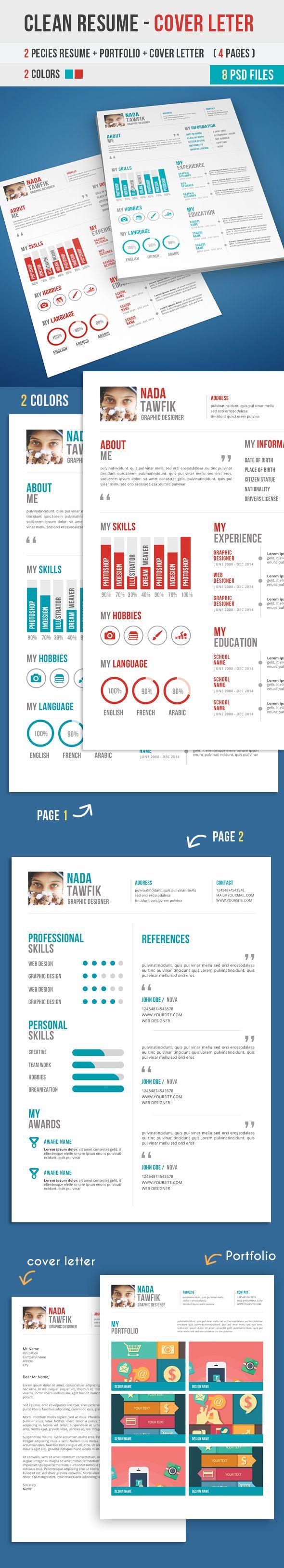 20 Modern CV / Resume Templates and Cover Letter | CVS | Pinterest ...