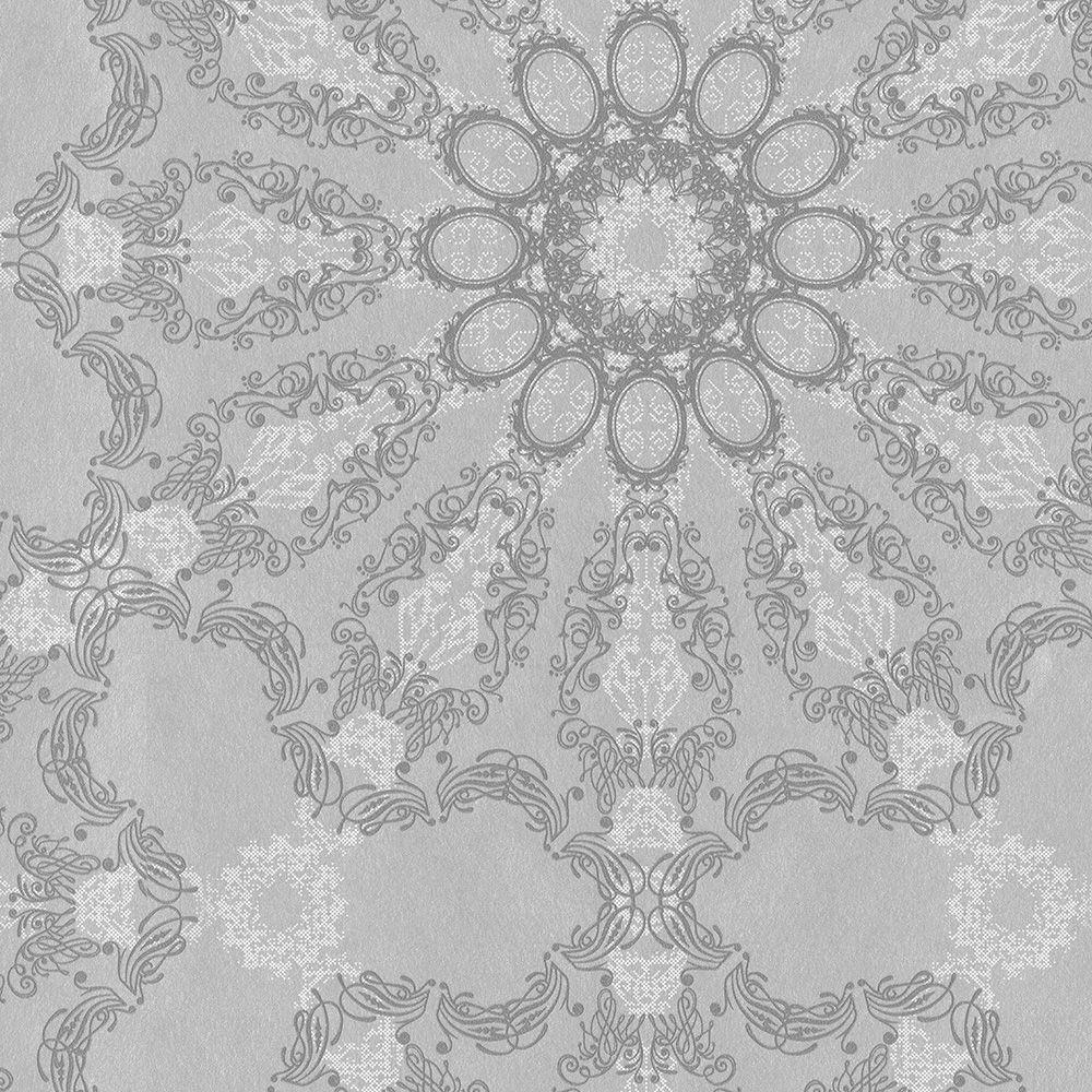 Kretschmer Deluxe Tapete Mandala Silber Grau Glitzer 41007 20