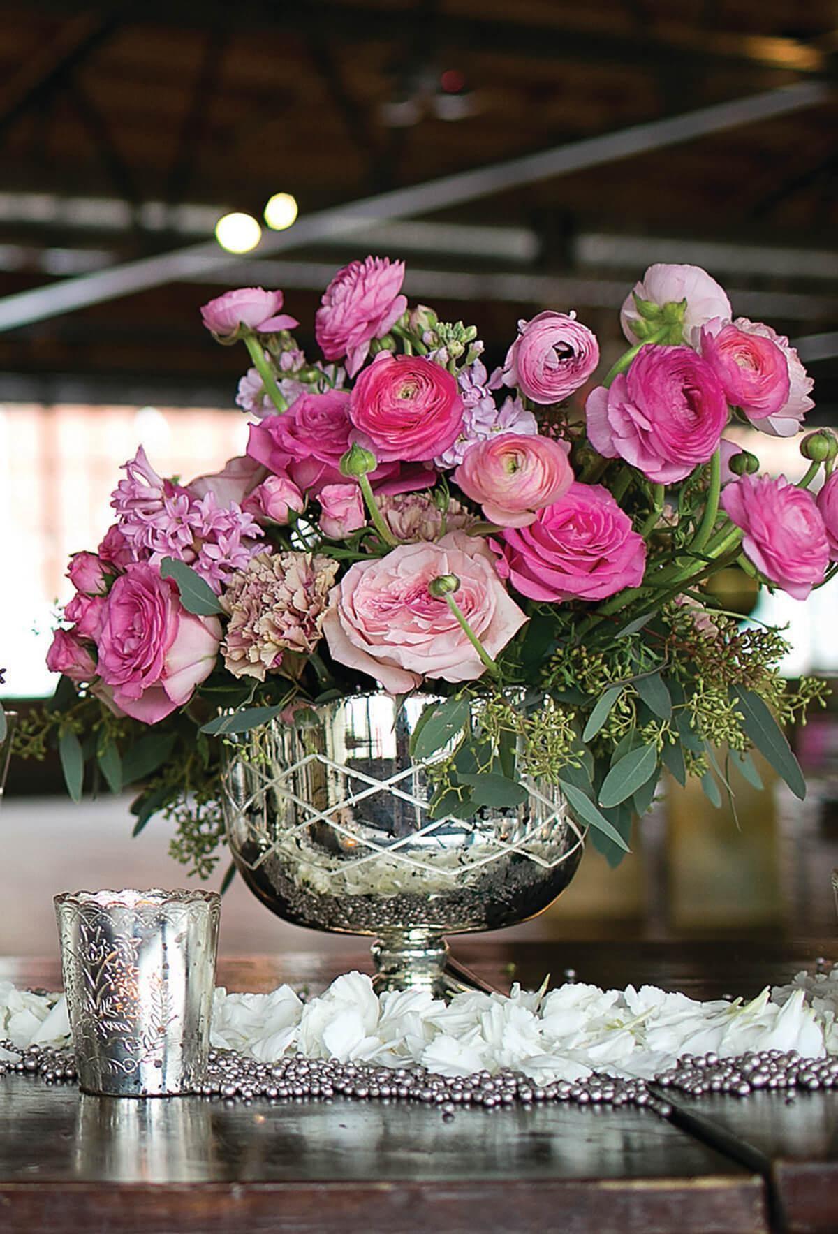 Mercury Glass Indi Compote Silver Flower Arrangements Mercury Glass Vase Wedding Table Decorations Purple