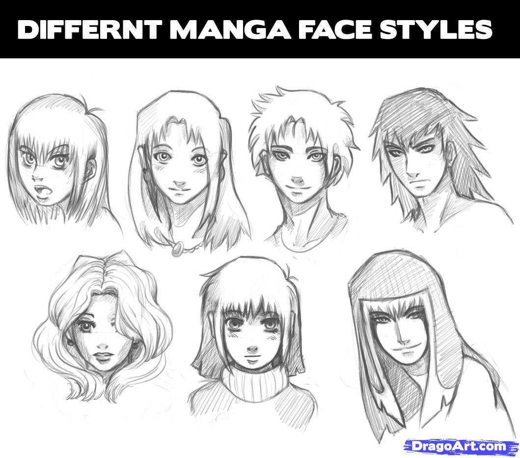All the different types of manga heads that you can learn how to draw