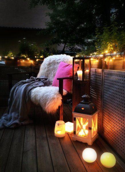 Gemütliches für Balkon und Terrasse am Tag und bei Nacht Pinterest