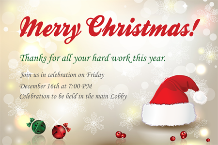 Company Christmas Party Invitation Wording Christmas