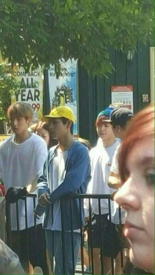 Bts Waiting In Line At Six Flags In Illinois Waiting In Line Bangtan Bangtan Boys