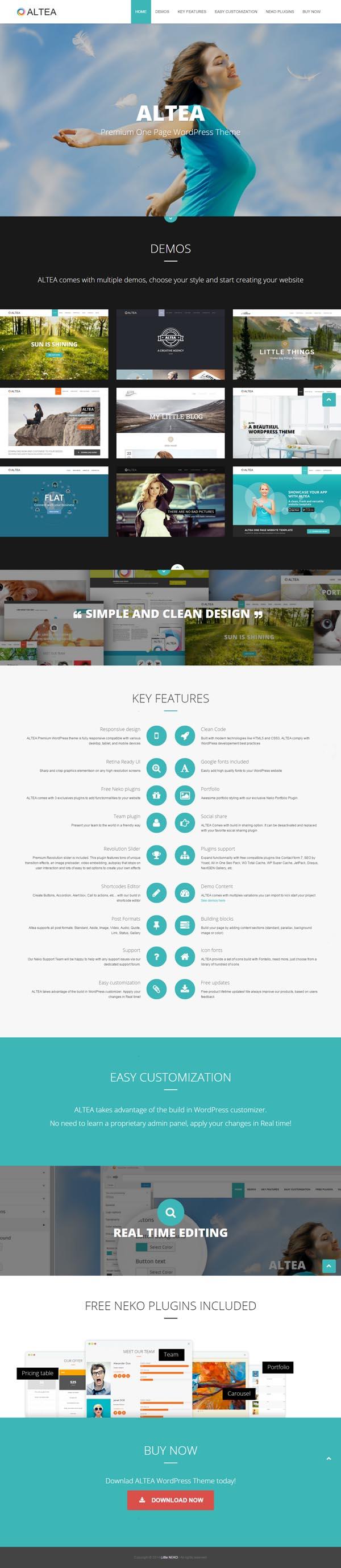 Altea - One Page WordPress Theme #wordpressthemes #html5templates #responsivedesign #html5themes #newwordpressthemes