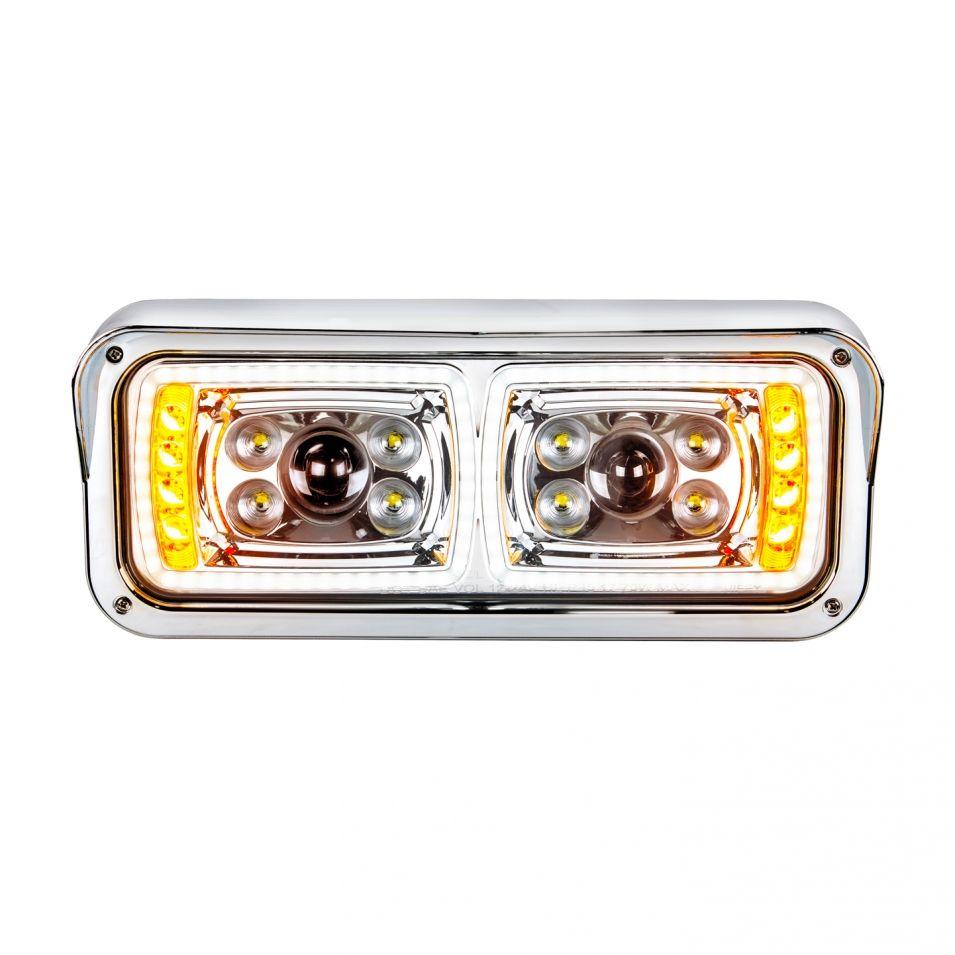 All Led Dual Function Chrome Headlight For Peterbilt Kenworth