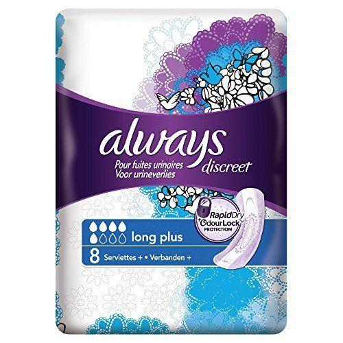 Always Discreet Serviette pour fuites urinaires Long 10 Noir