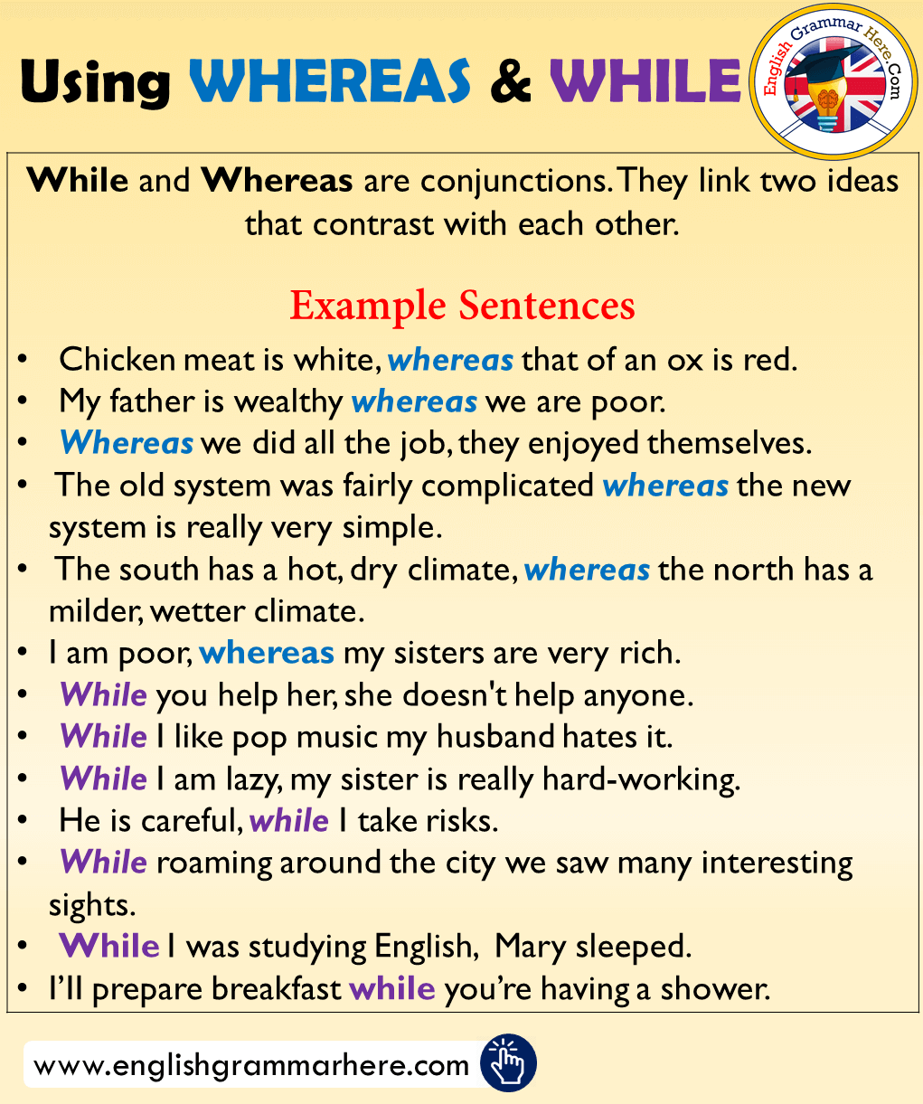 Using Wherea While Example Sentence Learn English Word Grammar Paraphrase Each Of The Following In Two Ways
