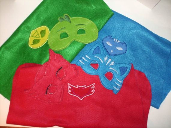 Bed Time Super Heroes Cape and Mask Sets by JandTEmbroidery