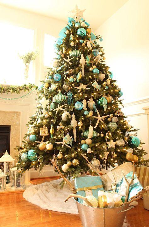turquoise coastal christmas tree Coastal Christmas Pinterest - coastal christmas decorations