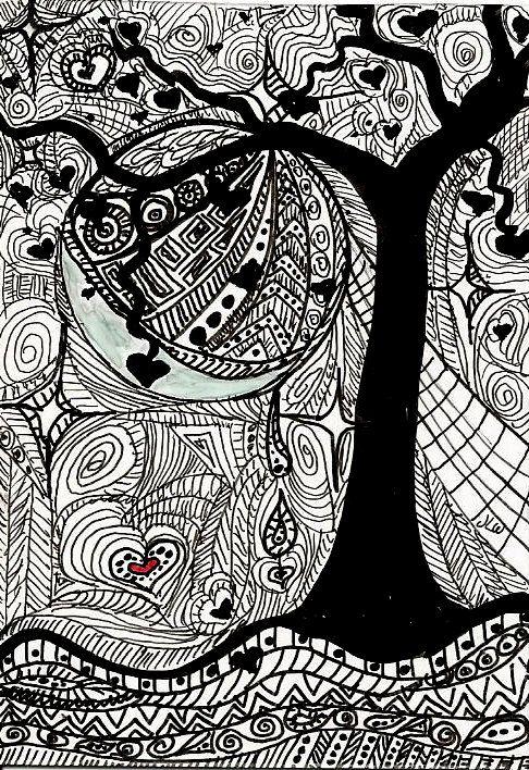 Abstract Aceo Valentine Art Card Marker Art Black By Jennizart