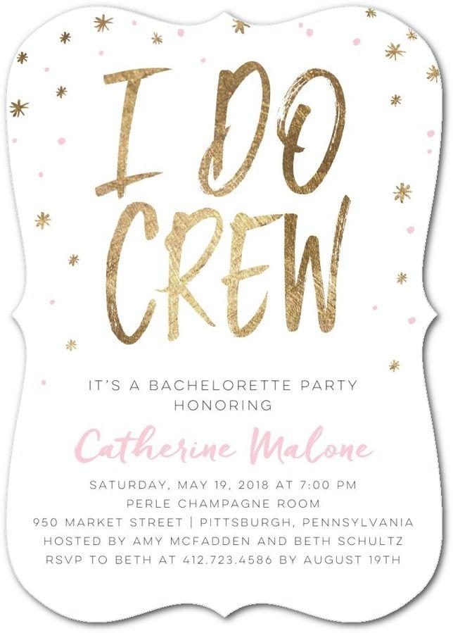 i do crew signature white bachelorette party invitations in