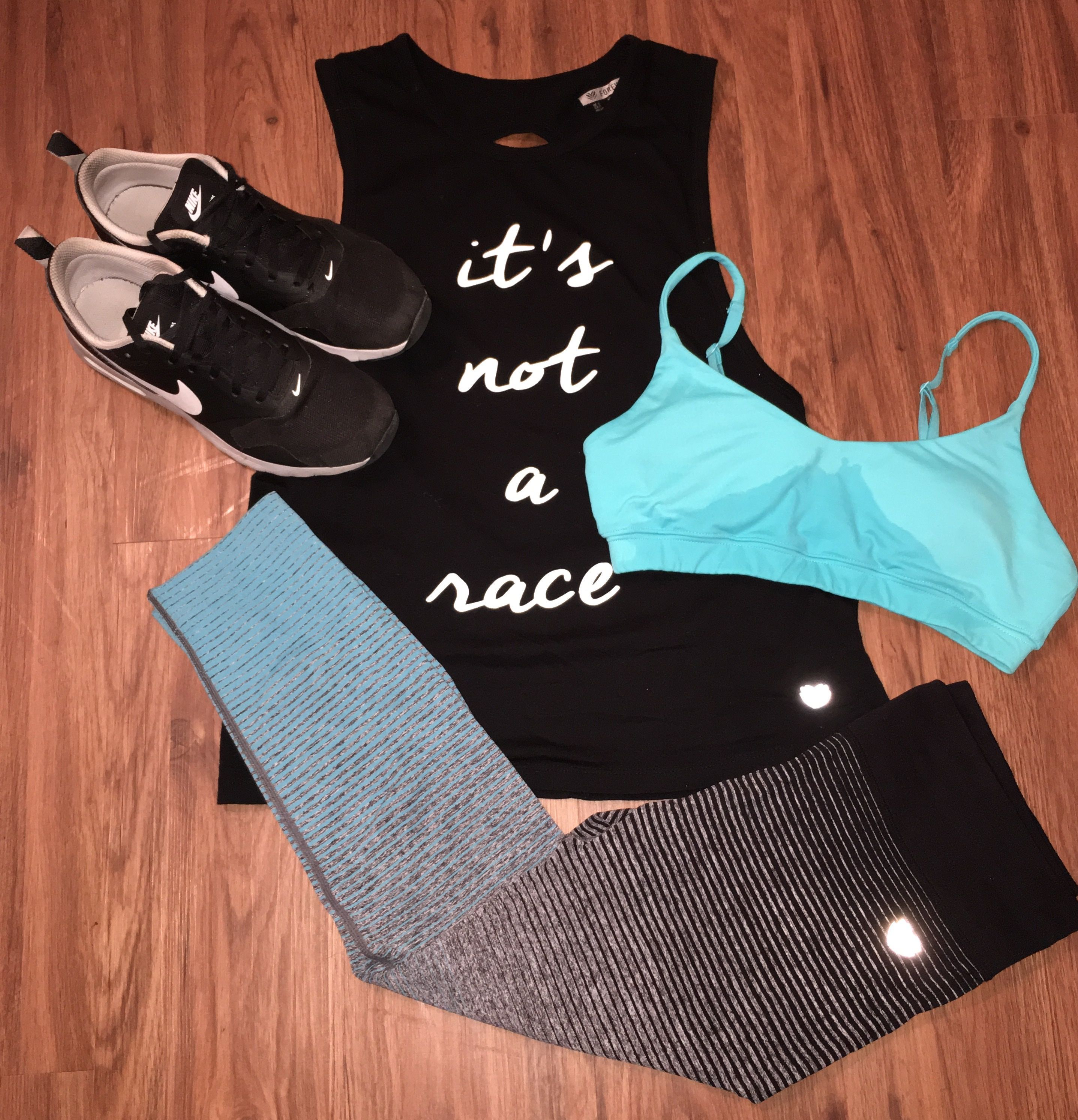 Gym outfit black and turquoise and nike tavas dream closet