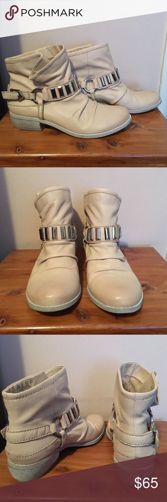 Fergie leather booties Brand new, beige booties never been worn! Fergie Shoes Ankle Boots & Booties
