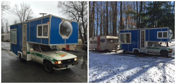 30 year old toyota motorhome now a homemade ski chalet