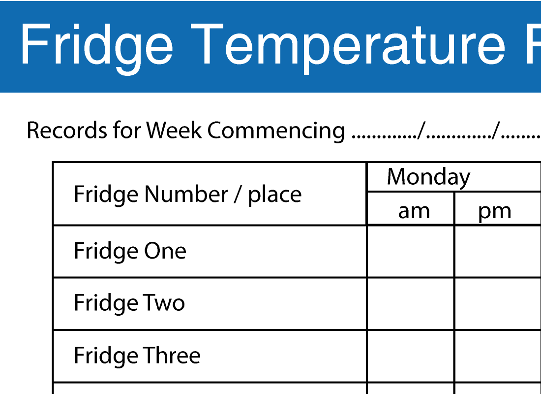 Refrigerator Log Sheet  Best Refrigerator   Food Safety Logs
