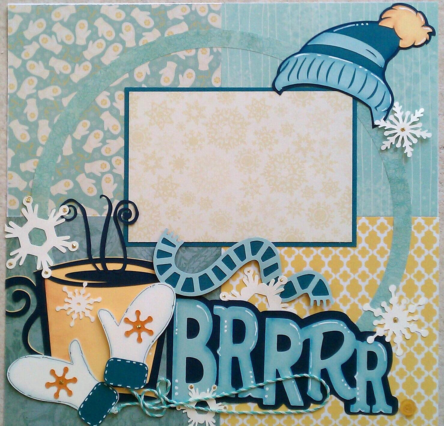 Snow * Hot Cocoa * Mittens * Cold * premade scrapbook layout page ...