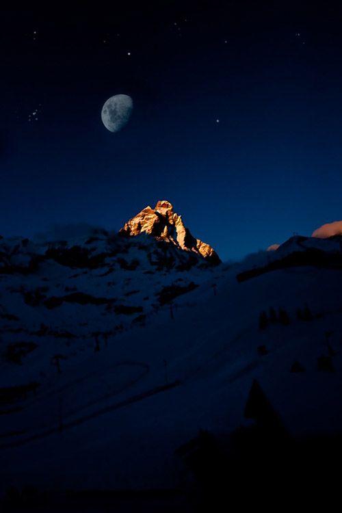 moon on the matterhorn, Italian Alps, by Vincenzo Bernardi, on 500px.