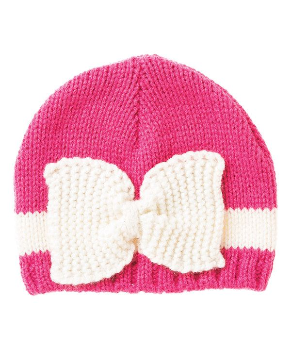 Look at this Blossoms & Buds Hot Pink & White Bow Knit Beanie on #zulily today!
