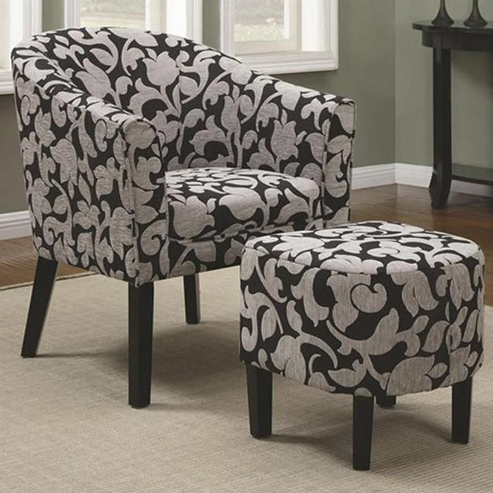 Best Accent Chair And Ottoman Set With Black And White Floral 640 x 480