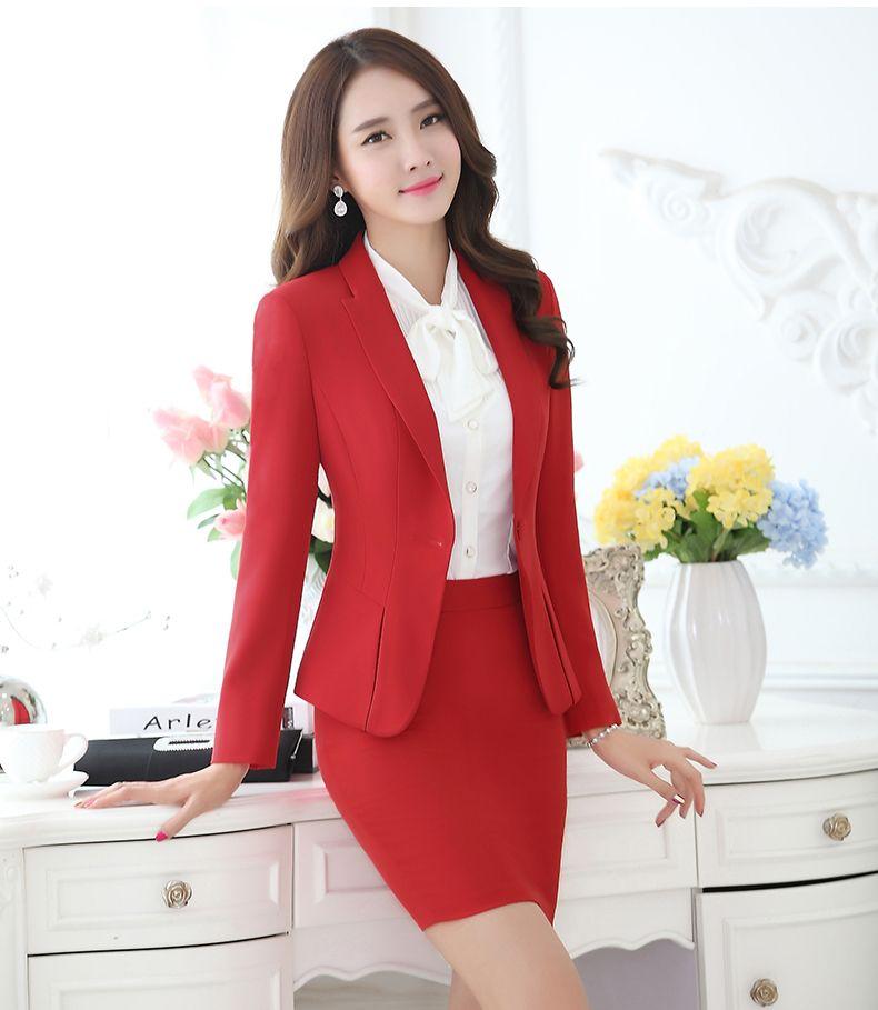 3ea2793e307b Profesional del otoño traje de negocios para mujer más tamaño falda trajes  del trabajo del OL