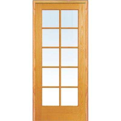 36 In X 80 In Left Handed Unfinished Pine Wood Clear Glass 10 Lite True Divided Single Prehun In 2020 Glass French Doors French Doors Interior Prehung Interior Doors