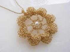 Crochet Flower Pendant, Goldfilled Wire, Freshwater Pearl Flower Pendant