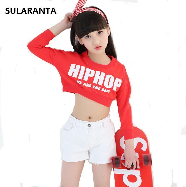 bb674a9fba17 Girls Cotton Ballroom Modern Jazz Hip Hop Dance Competition Costume ...