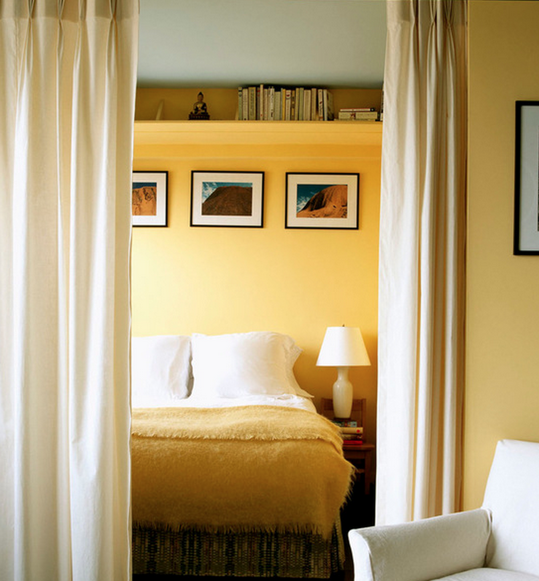 Bookshelf over bed; curtains around bed | Home - Bedroom | Pinterest ...
