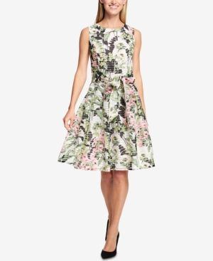 673c43a1a2aec Tommy Hilfiger Floral-Print Shadow-Stripe Fit & Flare Dress - White ...