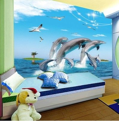 Best 3D Underwater World Dolphin Cartoon Children S Room 400 x 300