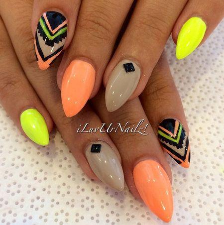Interesting nail design! #nudes #coral #yellow #nailart # ...