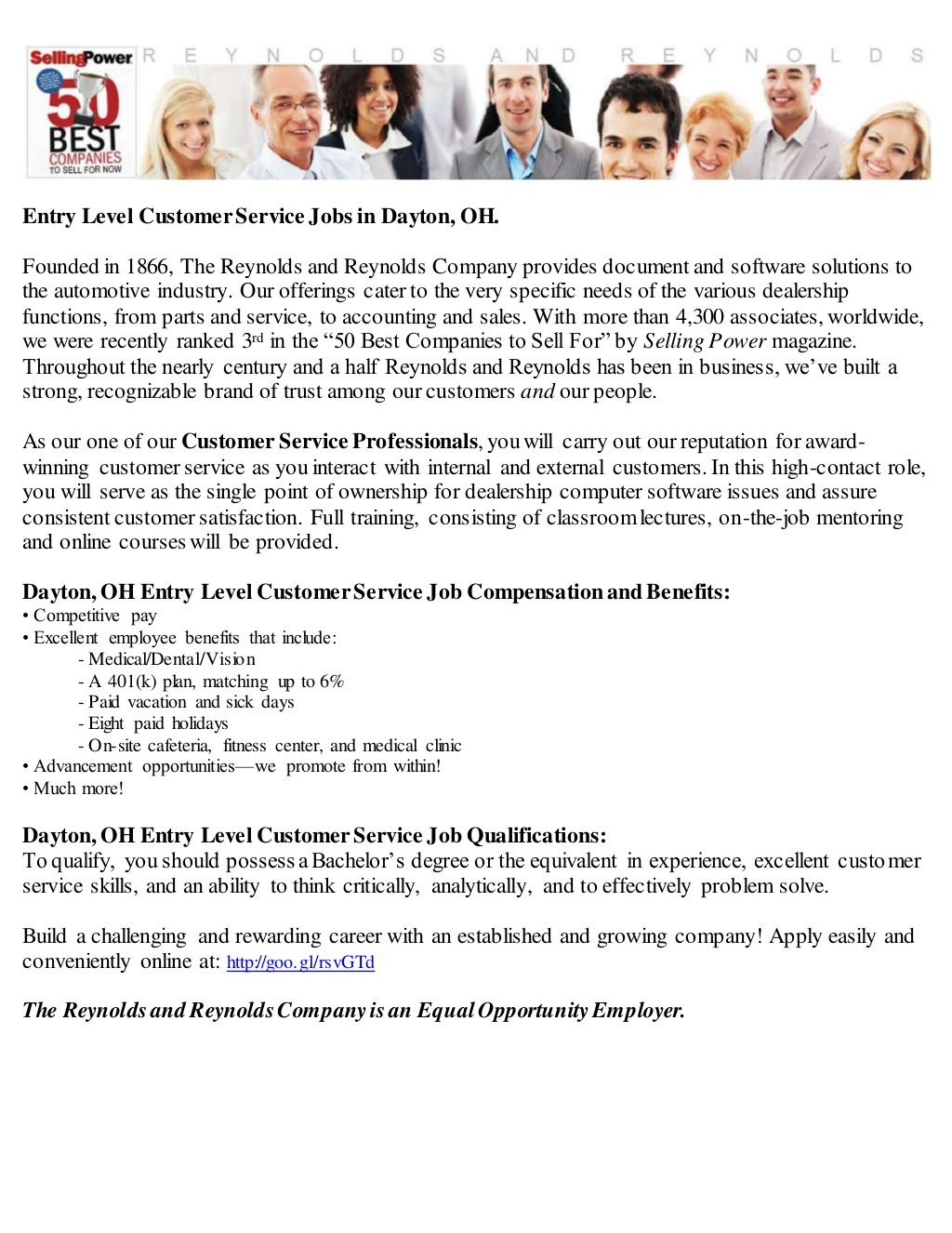 Entry Level Customer Service Jobs in Dayton, OH by
