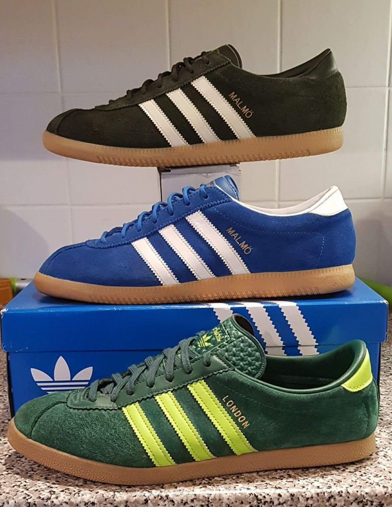 997c9c08f41 Fantastic triple of olive green Malmo, blue Malmo and slime green London  Adidas Sneakers,