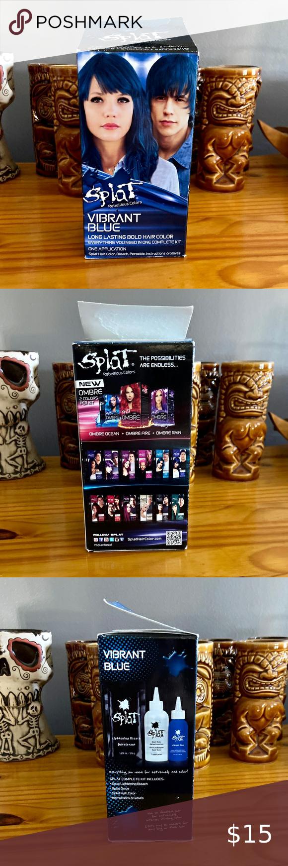 Splat Complete Kit Vibrant Blue Semi Permanent In 2020 Bright Blue Hair Color Kit Splat Colors