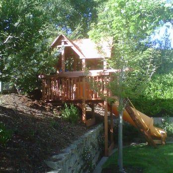 Custom Woodplay Playhouse Xl 6 Foot Deck On A Hill Yelp Backyard Garden Design Backyard Garden Landscape Backyard