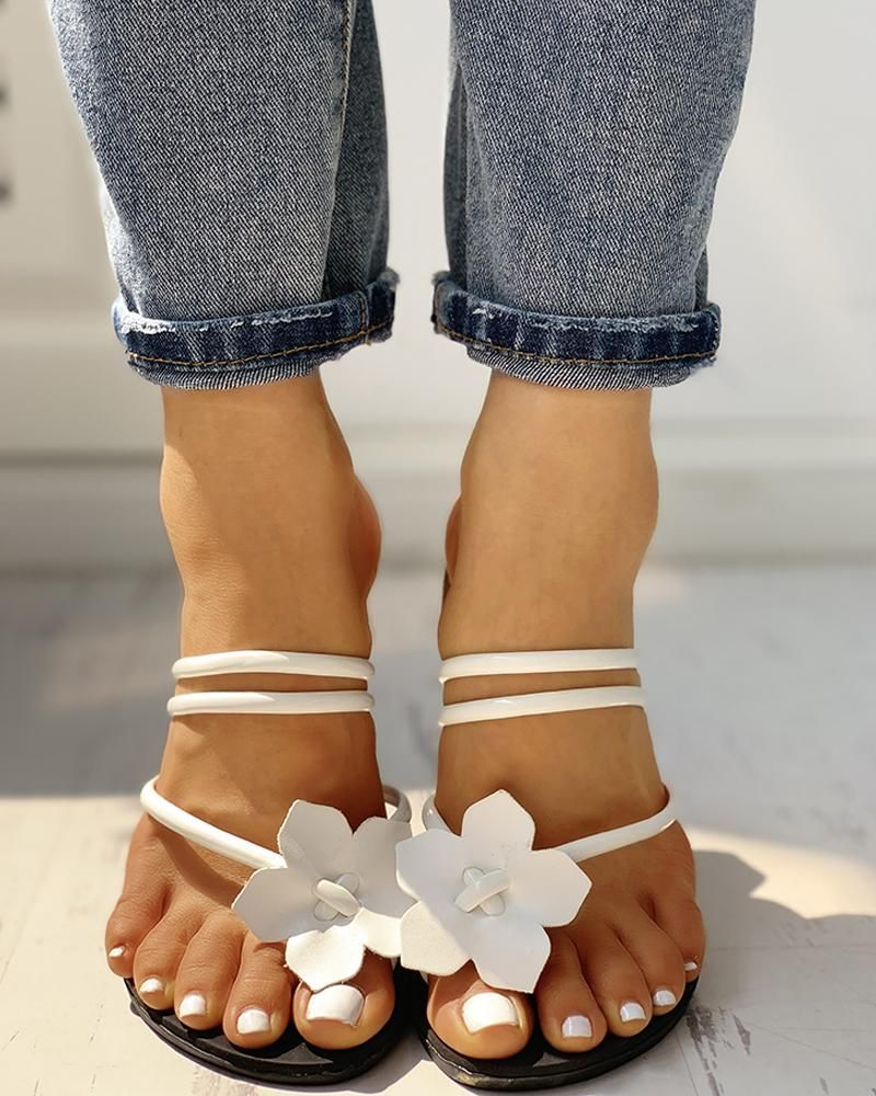 Floral Embellished Toe Ring Casual Sandals Floral Embellished Toe Ring Casual Sandals  the best Online Clothing Shopping Boutiques get the latest fashion clothing online...