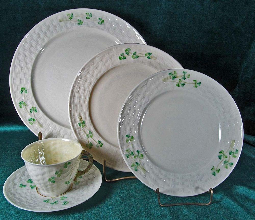 Belleek China \u0026 Dinnerware | eBay & Irish Belleek Lot 3 Basket Weave Shamrock Dinnerware 5 Pieces \u003d 1 ...