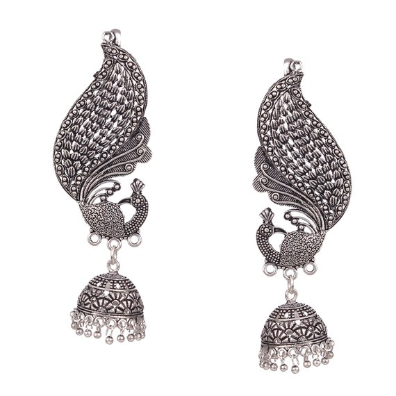 Oxidized Finish 925 Sterling Silver Casual Ear Cuff Pair Earrings