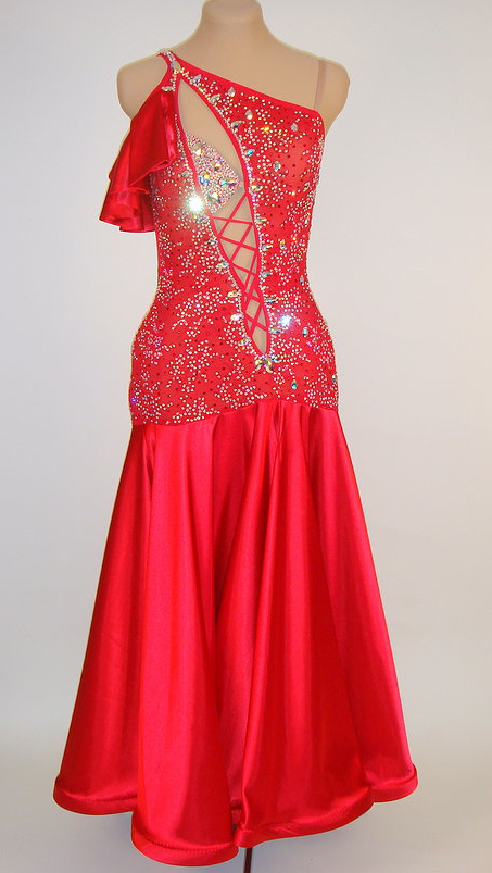 Red lace with satin skirt