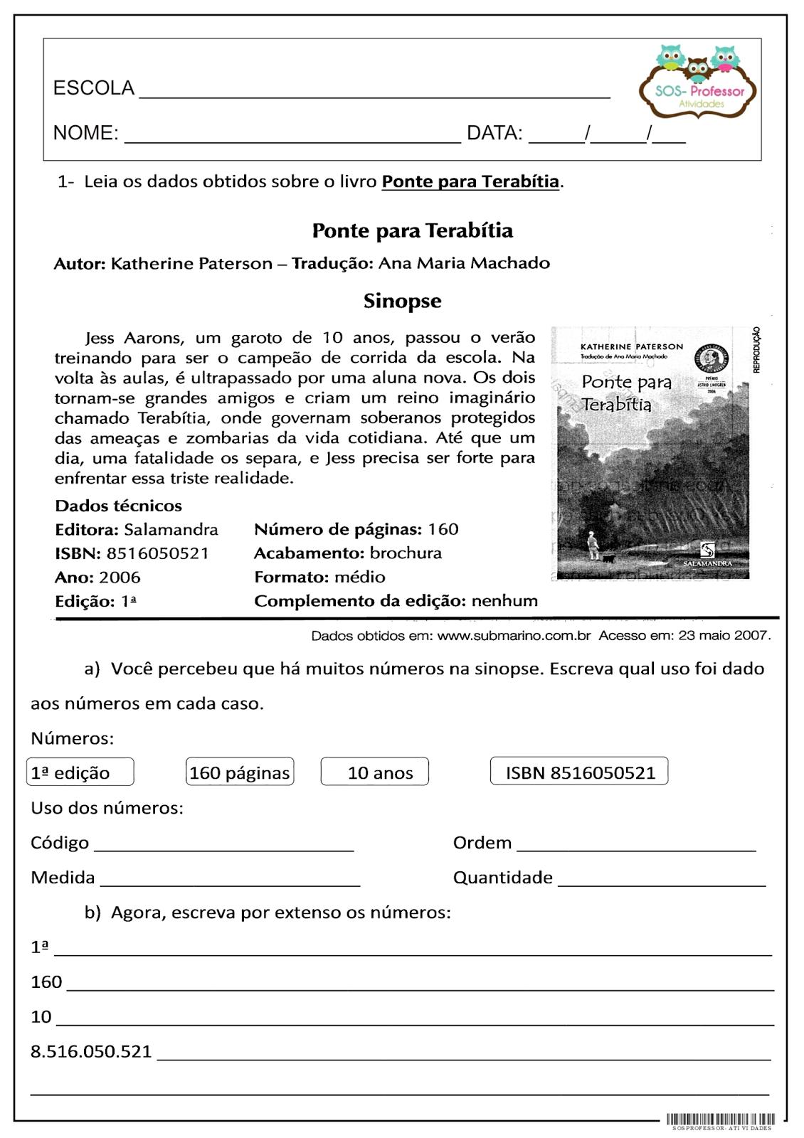 Avaliação de matemática - Ponte para Terabítia 4º E 5º ANO, AVALIAÇÃO, MATEMÁTICA, REVISÃO DE MATEMÁTICA