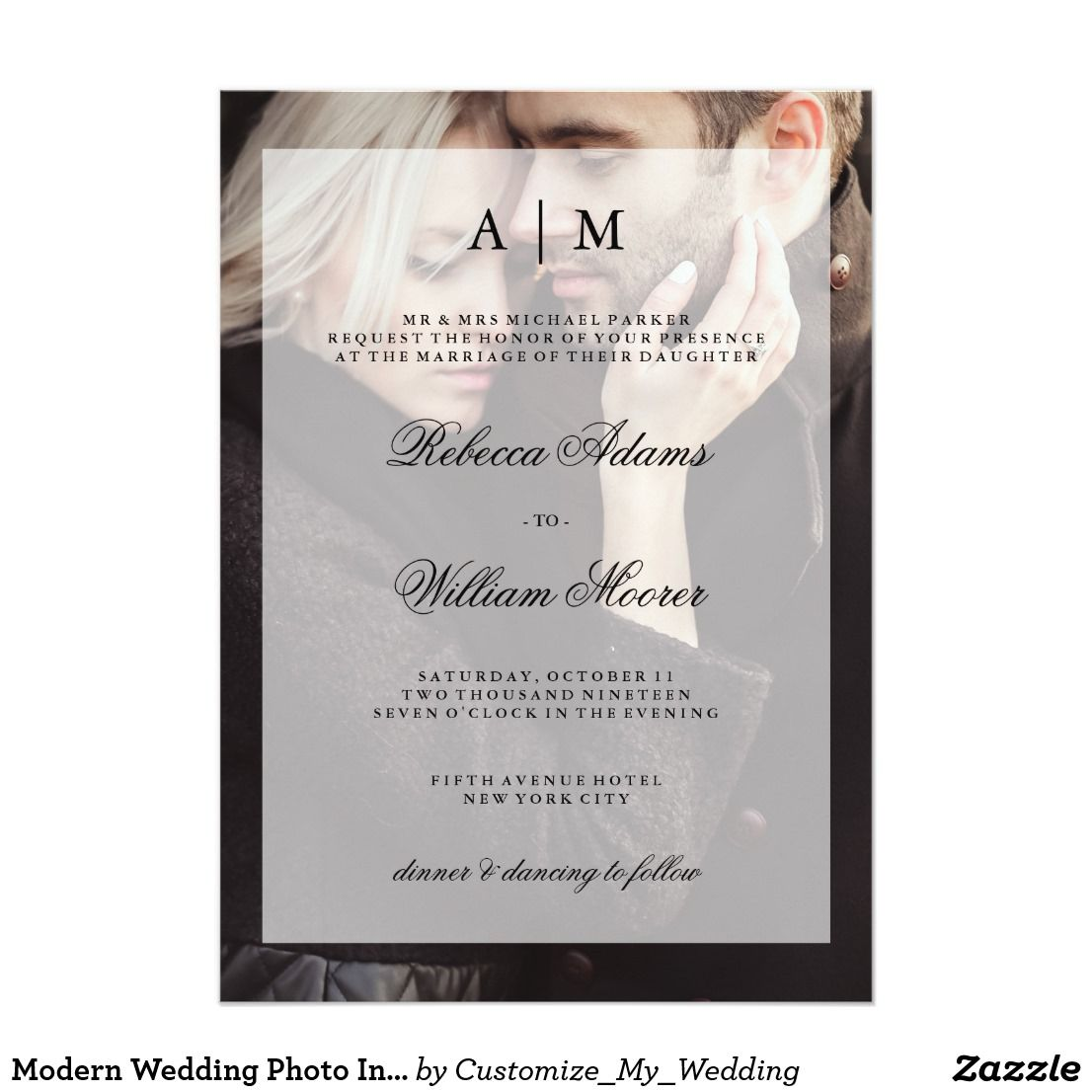Modern Wedding Photo Invitation With Overlay Elegant Wedding