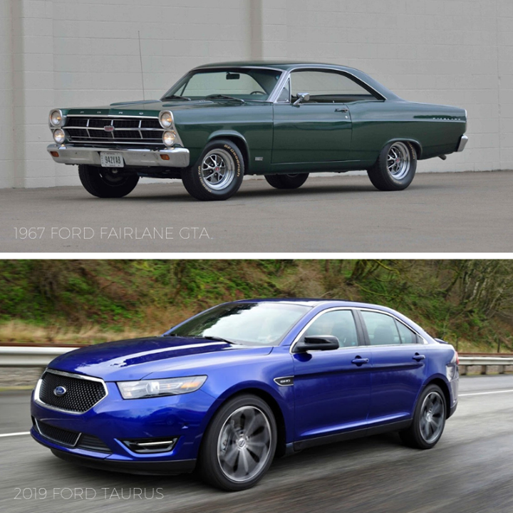 Tbt 1967 Ford Fairlane Gta Vs 2019 Ford Taurus Ford Fairlane