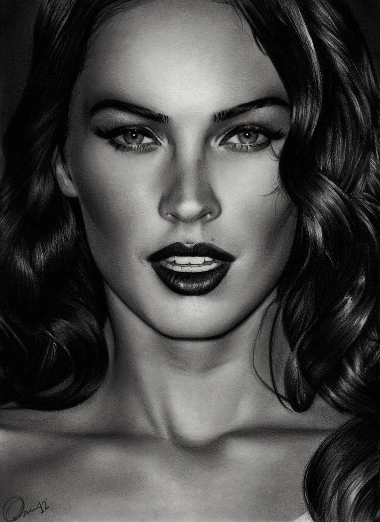 Megan fox 3 charlie chazdesigns uk realism art beautiful female head woman face portrait b w pencil drawing