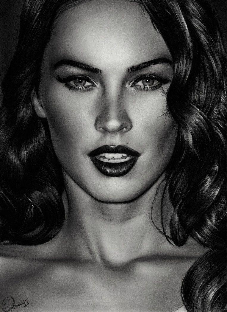 Megan fox 3 charlie chazdesigns uk realism art beautiful female head woman face portrait b w pencil drawing