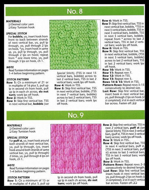 101 EASY TUNISIAN STITCHES pg 6 | Pinterest | Crochet tunecino ...