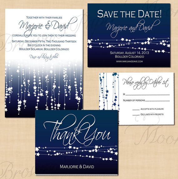 Star Streamers Printable Save The Date Invitation Rsvp And Thank Y Midnight Blue Wedding Wedding Invitation Packages Wedding Invitations Printable Templates