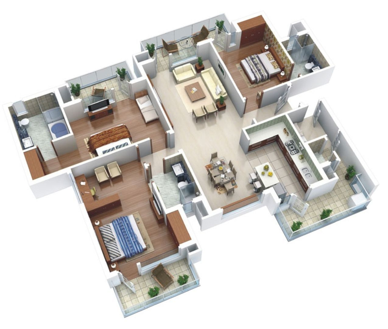 Well Designed 3D House Plan Design Ideas Well Designed