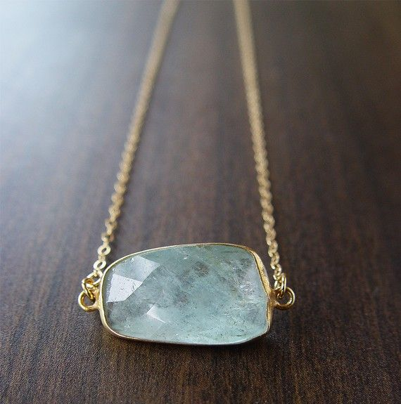 SALE Blue Aquamarine freeform necklace 14k Gold by friedasophie