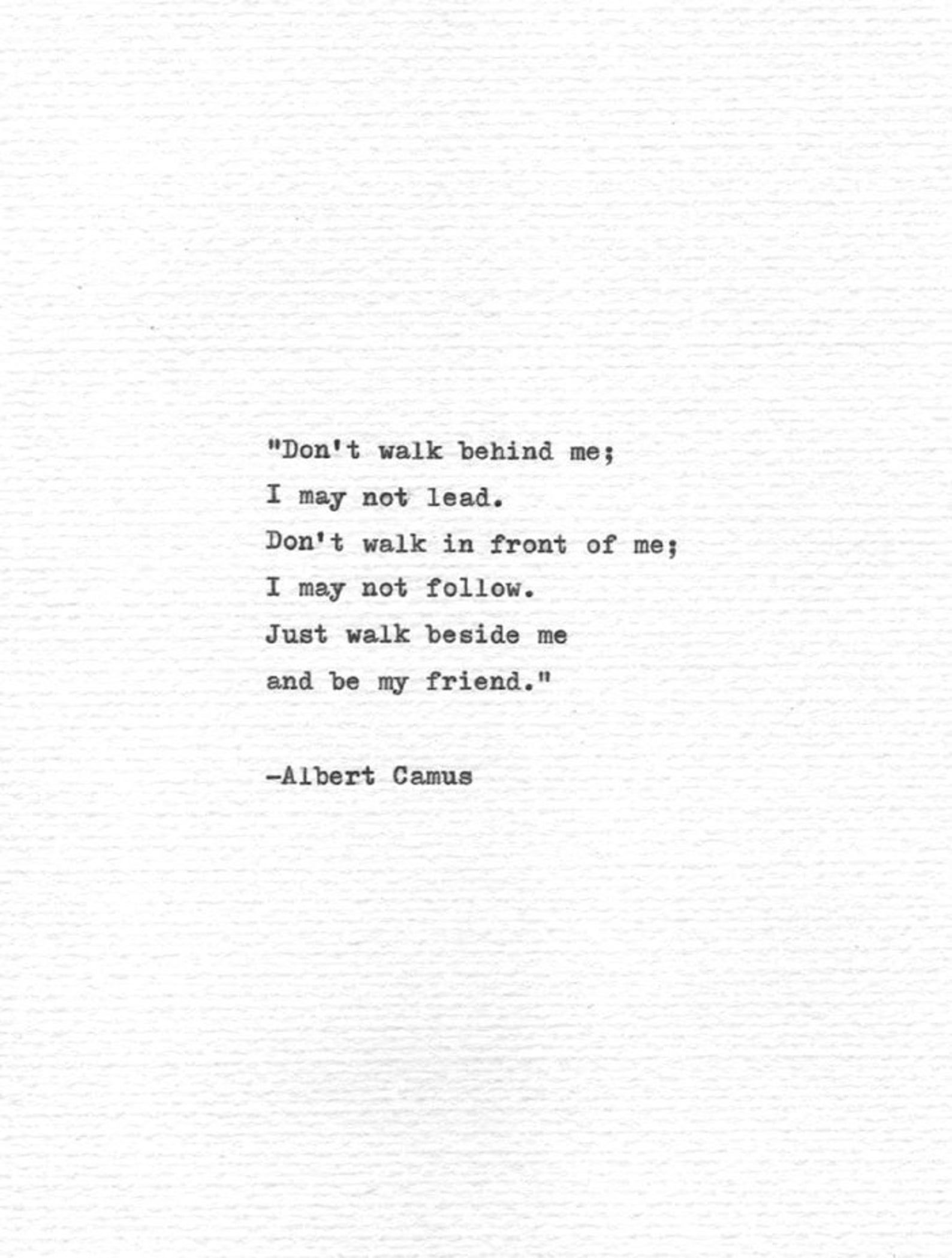 Albert Camus Hand Typed Quote Be my friend Vintage Typewriter Letterpress Print Friendship Gift Writer Inspiration Book Print Absurdism