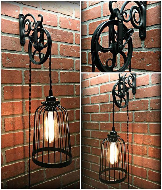 Rustic Light Industrial Chandelier Rope Pulley Yoke Wood Metal: Cool Black Bird Cage Wall Pulley Light